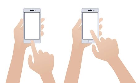 Hand holding white smartphone, touching blank white screen against the white background Vector
