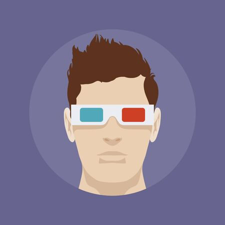 stereoscope: Young man in the 3d stereo glasses against the dark-violet baclground Illustration