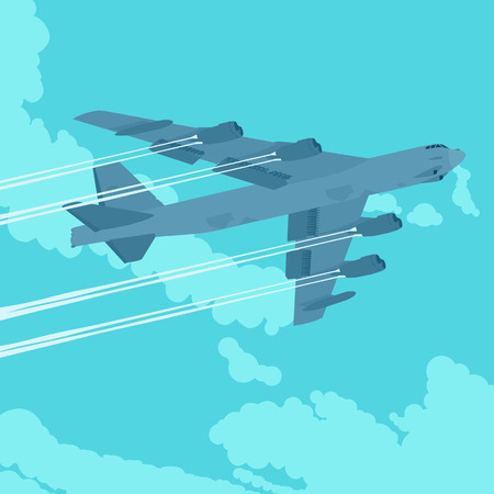bomber: Heavy bomber against the blue sky with clouds. Illustration suitable for advertising and promotion Illustration