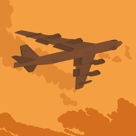 bomber: Heavy bomber against the sunset. Illustration suitable for advertising and promotion