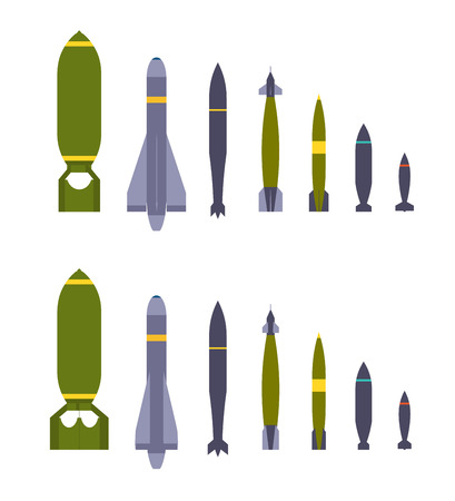 anti nuclear: Set of the air bombs. The objects are isolated against the white background and shown from two sides
