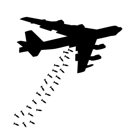 Heavy bomber dropped the bombs. Black silhouette against the white background Vectores