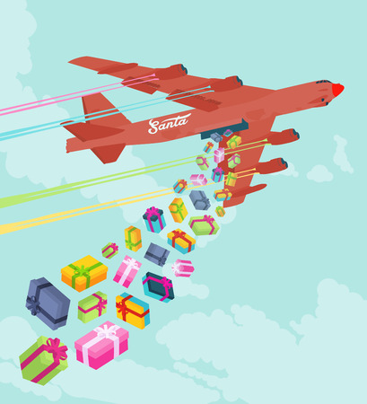 Santas bomber dropping the gifts. Conceptual illustration suitable for advertising and promotion Vector