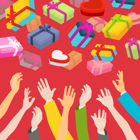 Hands catching the falling gift boxes. Illustration suitable for advertising and promotion Vector