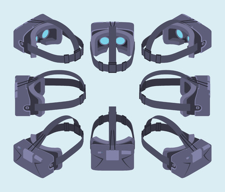 rift: Set of the isometric virtual reality headsets. The objects are isolated against the light-blue background and shown from different sides