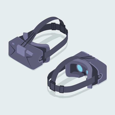 Set of the isometric virtual reality headsets. The objects are isolated against the white background and shown from two sides