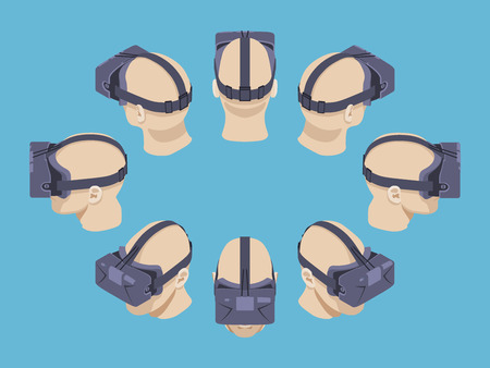 virtual reality: Set of the isometric virtual reality headsets. The objects are isolated against the blue background and shown from different sides