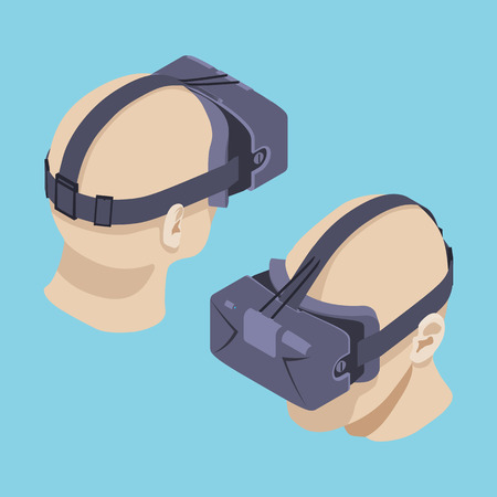 Set of the isometric virtual reality headsets. The objects are isolated against the blue background and shown from two sides