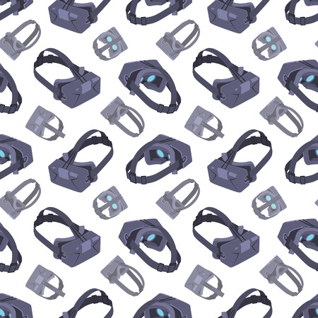 rift: Seamless pattern with the virtual reality headsets. The layout is fully editable Illustration