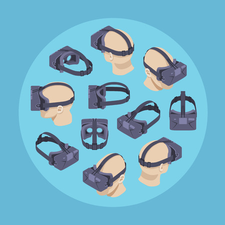 Virtual reality headset against the blue background. Conceptual illustration suitable for advertising and promotion