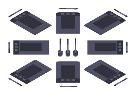 digitizer: Set of the isometric graphic tablets. The objects are isolated against the white background and shown from different sides Illustration