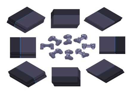 blueray: Set of the isometric black nextgen gaming consoles. The objects are isolated against the white background and shown from different sides