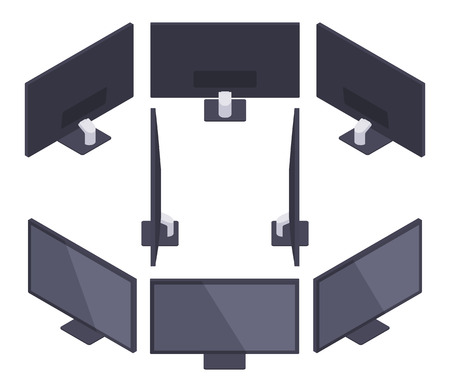 fullhd: Set of the isometric HD Monitors. The objects are isolated against the white background and shown from different sides
