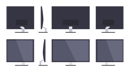 fullhd: Set of the HD Monitors. The objects are isolated against the white background and shown from different sides
