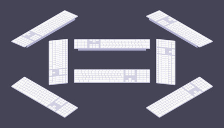klawiatura: Zestaw izometrycznych klawiatury PC. Obiekty są izolowane na ciemno-fioletowe tło i pokazany z różnych stron Ilustracja