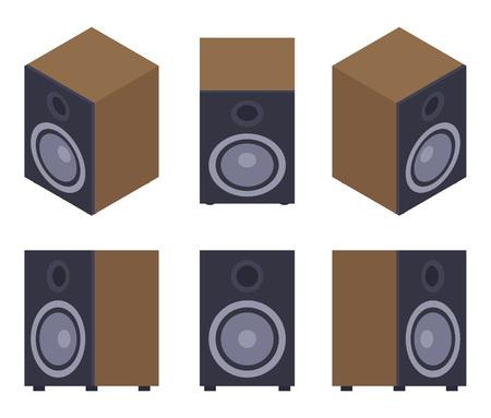 speaker: Conjunto de los altavoces de audio. Los objetos est�n aislados contra el fondo blanco y se muestran desde diferentes lados