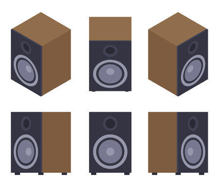 speaker box: Set of the audio speakers. The objects are isolated against the white background and shown from different sides