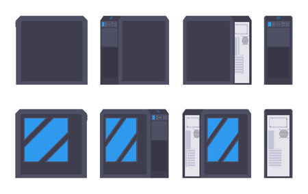 cases: Set of the black PC cases. The objects are isolated against the white background and shown from different sides