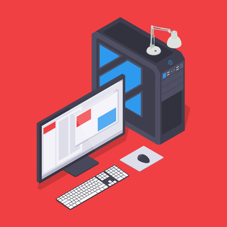 webserver: Isometric personal computer. Illustration suitable for advertising and promotion