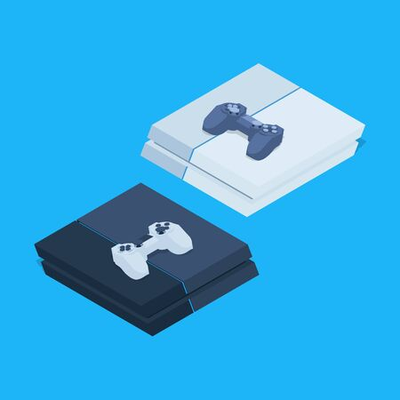 gamepads: Isometric nextgen gaming consoles with gamepads. Illustration suitable for advertising and promotion Illustration