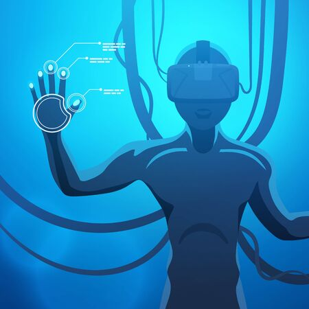 Man in a virtual reality helmet. Futuristic males figure in a VR headset against the blue abstract background Stock Vector - 39283362