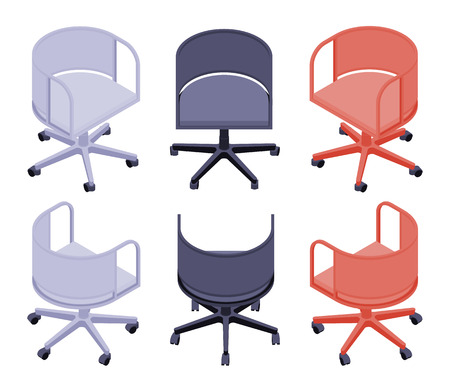 ergonomic: Set of the isometric office colored chairs. The objects are isolated against the white background and shown from different sides