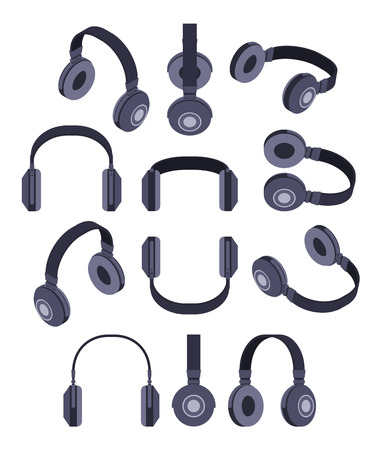 headphones: Set of the isometric black headphones. The objects are isolated against the white background and shown from different sides