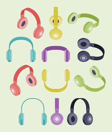 audifonos: Conjunto de los auriculares de color isométricos. Los objetos están aislados contra el fondo blanco y se muestran desde diferentes lados Vectores