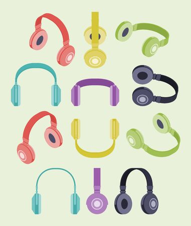 headset: Set of the isometric colored headphones. The objects are isolated against the white background and shown from different sides Illustration