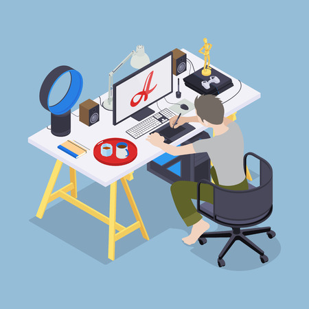 Digital artist at his workplace. Conceptual illustration suitable for advertising and promotion Vector