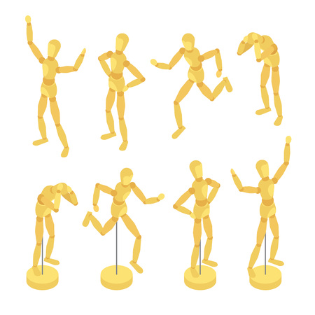 artists mannequin: Isometric wooden mannequins. The objects are isolated against the white background and shown in various poses Illustration