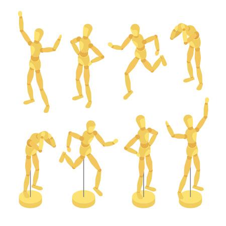 mannequin: Mannequins en bois isométrique. Les objets sont isolés sur le fond blanc et présentés dans des poses variées