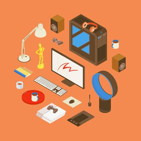artists dummies: Isometric items from the digital artist workplace. Conceptual illustration suitable for advertising and promotion