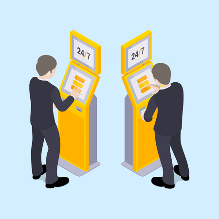 Man in black suit near the payment terminal. Illustration suitable for advertising and promotion Çizim