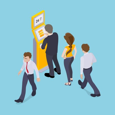 People in line in front of the payment terminal. Illustration suitable for advertising and promotion Vectores