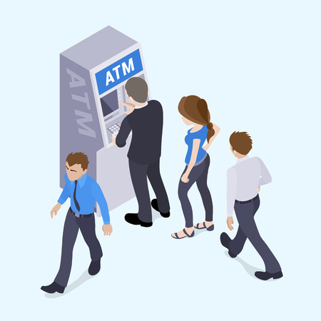 impatient: People in line in front of the ATM. Illustration suitable for advertising and promotion Illustration