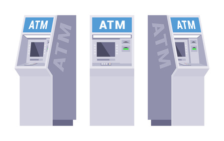 ATM 세트. 개체는 흰색 배경에 격리되어 있으며 다른면에 표시됩니다.