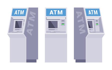 Set der Geldautomaten. Die Objekte werden vor dem weißen Hintergrund von verschiedenen Seiten dargestellt