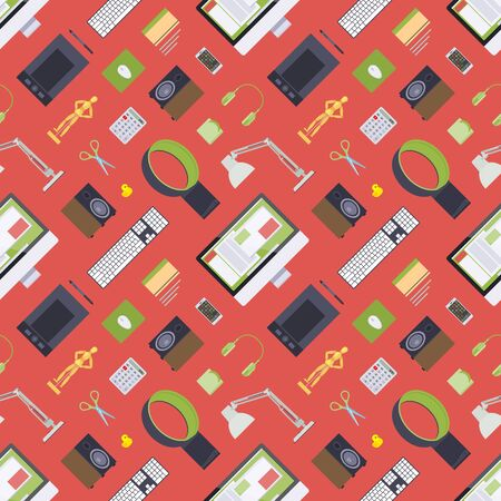 Seamless pattern with items from the digital artist workplace. The layout is fully editable