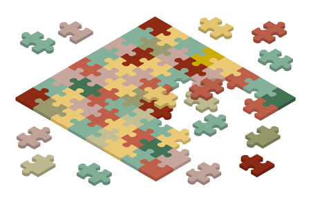 pieces: Isometric jigsaw puzzle. Illustration suitable for advertising and promotion Illustration