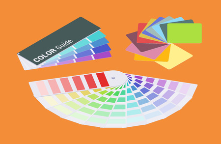 Set of the isometric color guides. The objects are isolated against the orange background and shown from one side Vettoriali