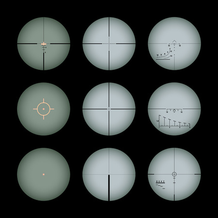 Set of the real gun sights. The objects are isolated against the black background