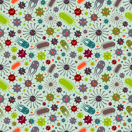 Seamless pattern with the viruses. The layout is fully editable