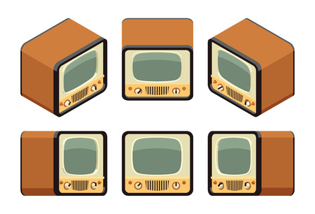 Isometric retro TV sets. The objects are isolated against the white background and shown from different sides