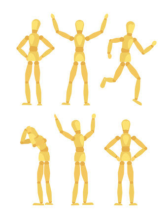 poser: Wooden mannequins. The objects are isolated against the white background and shown in various poses
