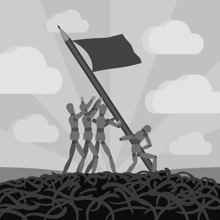 establishing: Wooden men establishing the pemcil-flag. Conceptual illustration suitable for advertising and promotion Illustration