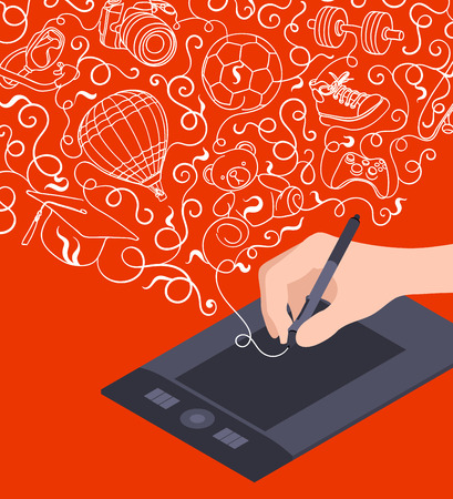 Hand drawing on the graphic tablet against the red background. Conceptual illustration suitable for advertising and promotion