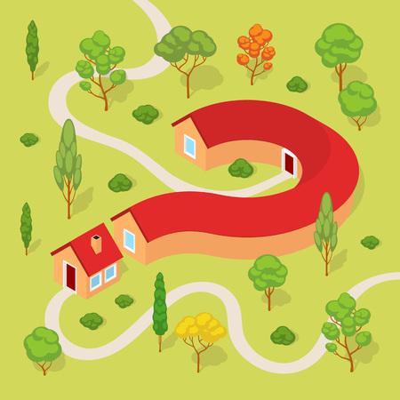 Het huis in de vorm van een vraagteken. Conceptuele illustratie geschikt voor reclame en promotie