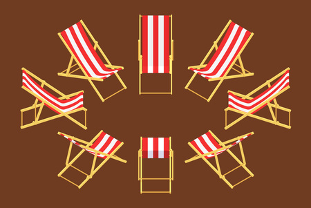 Set of the isometric deck chairs. The objects are isolated against the brown background and shown from different sides
