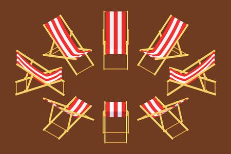silla de madera: Conjunto de las sillas de cubierta isométricos. Los objetos están aislados contra el fondo marrón y se muestran desde diferentes lados